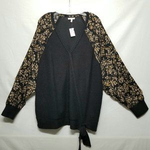 Maurices Flowers Long Sleeves Black Sweater